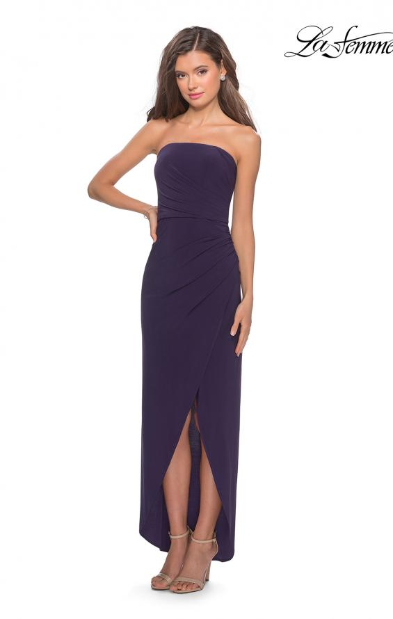 Picture of: Long Strapless Jersey Dress with Side Ruching in Dark Purple, Style: 28204, Main Picture