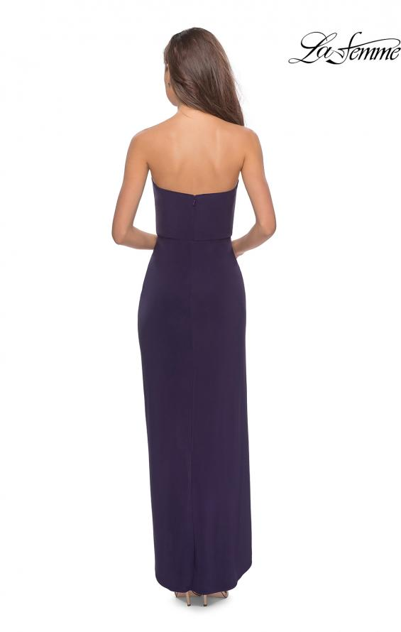 Picture of: Long Strapless Jersey Dress with Side Ruching in Dark Purple, Style: 28204, Back Picture