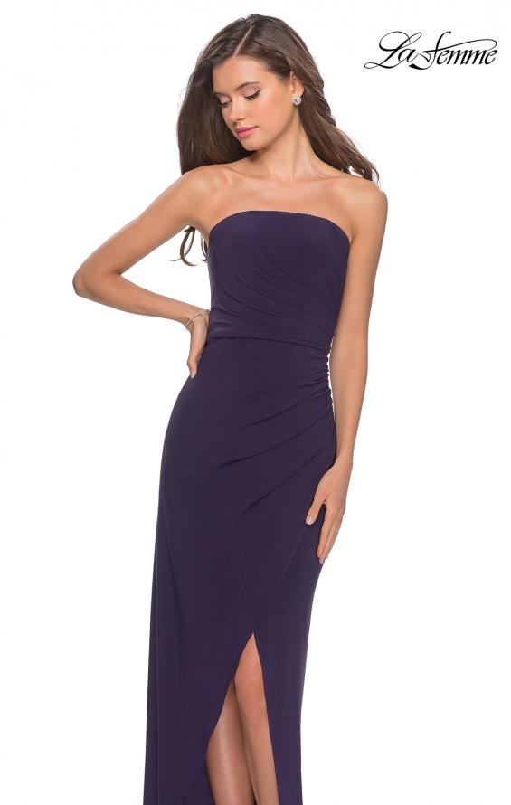 Picture of: Long Strapless Jersey Dress with Side Ruching in Dark Purple, Style: 28204, Detail Picture 5