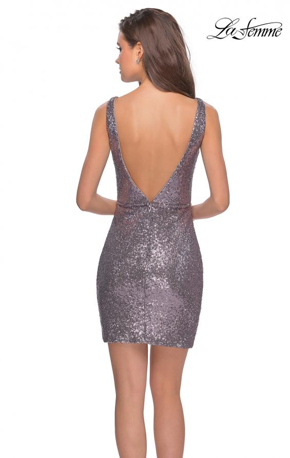 Picture of: Sequined Dress with Faux Wrap Skirt and Open Back in Dark Silver, Style: 28218, Detail Picture 2