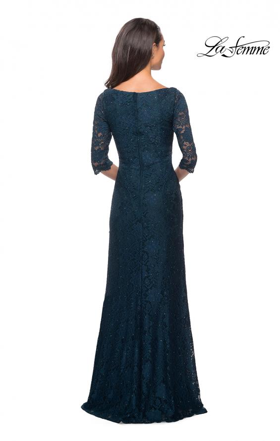 Picture of: 3/4 SLeeve Long Lace Gown with Rhinestone Accents in Dark Teal, Style: 25526, Back Picture