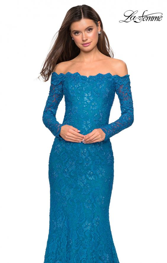 Picture of: Off the Shoulder Long Sleeve Lace Prom Gown, Style: 26393, Detail Picture 1