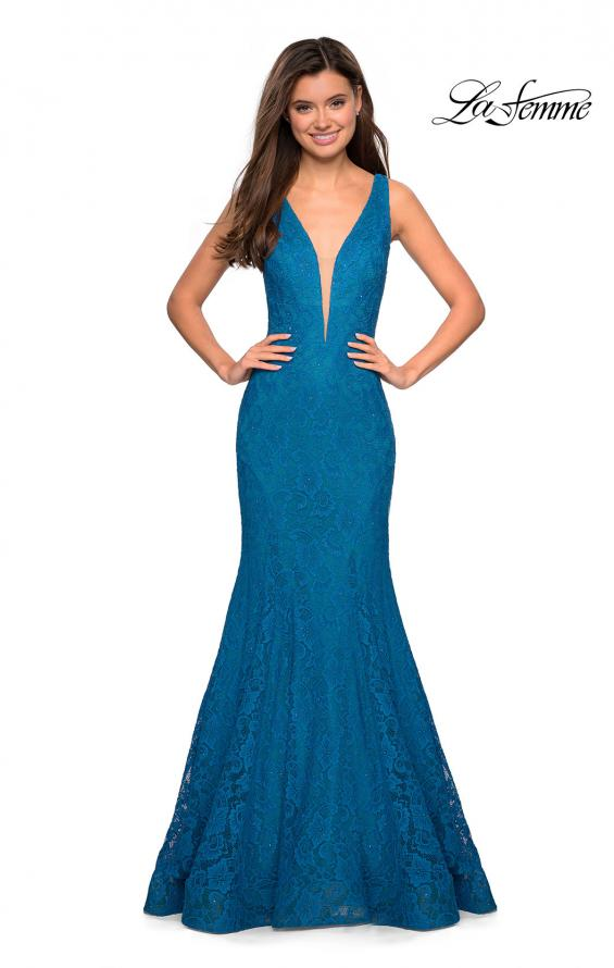 Picture of: Stretch Lace Prom Dress with Plunging Neckline, Style: 27464, Detail Picture 1