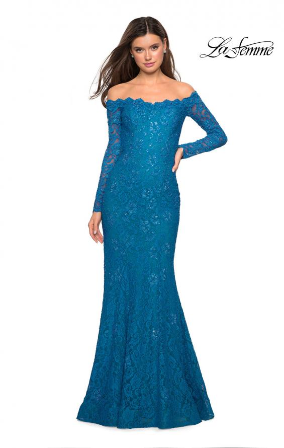 Picture of: Off the Shoulder Long Sleeve Lace Prom Gown, Style: 26393, Detail Picture 4