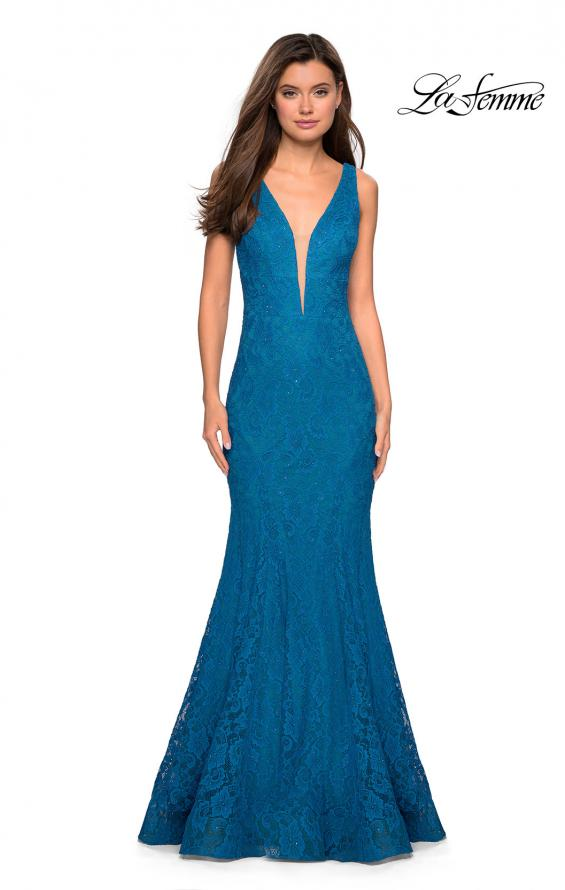 Picture of: Stretch Lace Prom Dress with Plunging Neckline, Style: 27464, Detail Picture 5