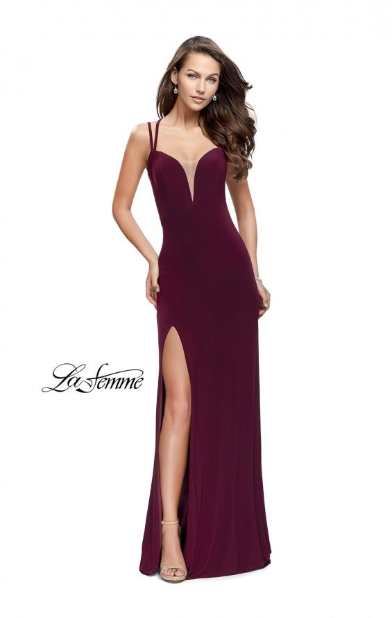 Picture of: Long Classic Prom Dress with Side Leg Slit and Deep V, Style: 25648, Main Picture