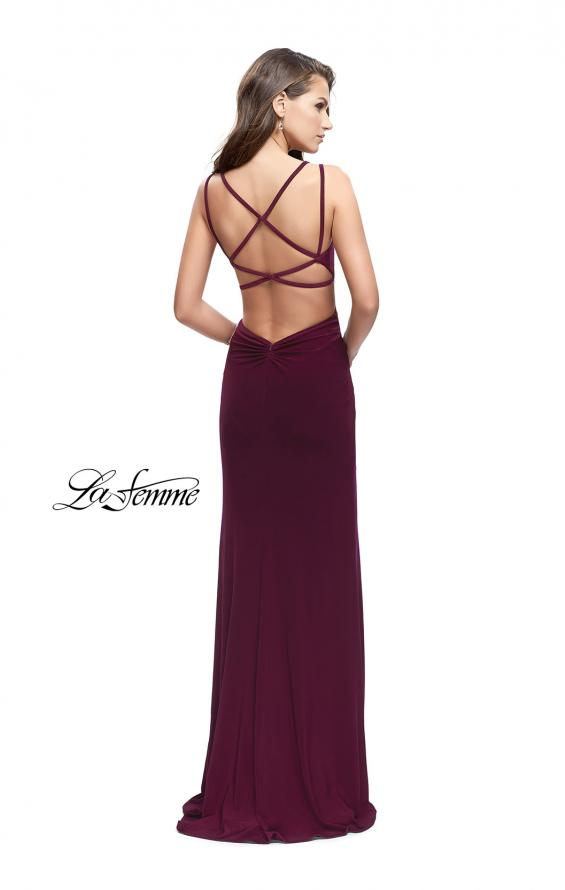Picture of: Long Classic Prom Dress with Side Leg Slit and Deep V, Style: 25648, Detail Picture 5