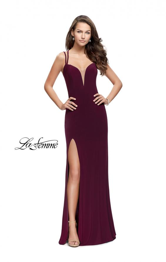 Picture of: Long Classic Prom Dress with Side Leg Slit and Deep V, Style: 25648, Detail Picture 7