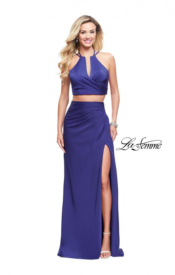 Picture of: Two Piece Jersey Prom Dress with Wrap Style Ruching, Style: 25731, Detail Picture 1