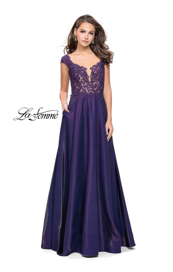 Picture of: A-Line Dress with Satin Skirt and Beaded Lace Bodice in Dark Periwinkle, Style: 25973, Detail Picture 1