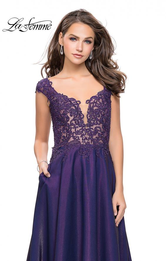 Picture of: A-Line Dress with Satin Skirt and Beaded Lace Bodice in Dark Periwinkle, Style: 25973, Detail Picture 4