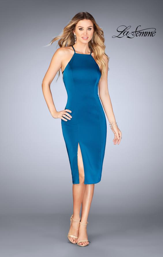 Picture of: Knee Length Jersey Evening Dress with Front Slit in Dark Teal, Style: 25083, Main Picture