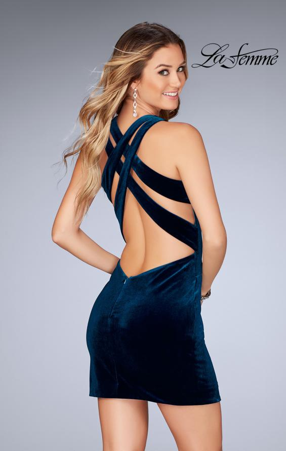 Picture of: High Neck Velvet Short Dress with Strappy Back, Style: 25091, Main Picture