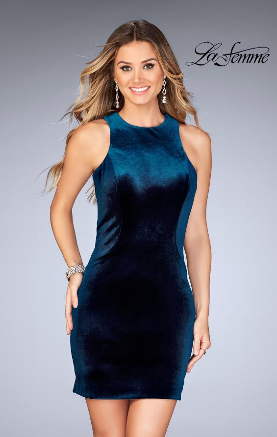 Picture of: High Neck Velvet Short Dress with Strappy Back, Style: 25091, Back Picture