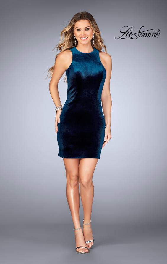 Picture of: High Neck Velvet Short Dress with Strappy Back, Style: 25091, Detail Picture 3