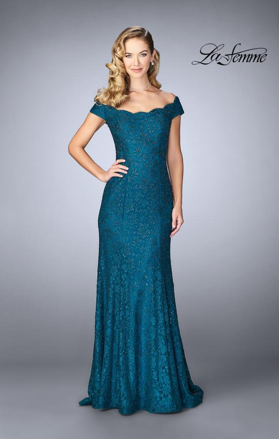 Picture of: Scalloped Off the Shoulder Lace Gown with Flare Skirt in Dark Teal, Style: 24928, Main Picture