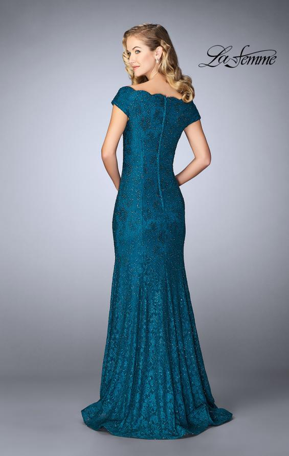 Picture of: Scalloped Off the Shoulder Lace Gown with Flare Skirt in Dark Teal, Style: 24928, Back Picture