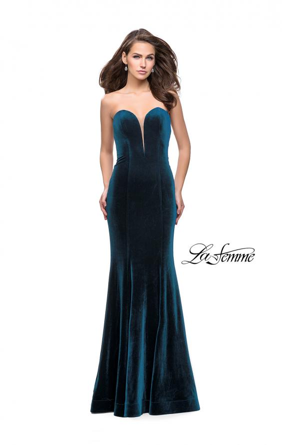 Picture of: Strapless Velvet Mermaid Dress with Strappy Back in Dark Teal, Style: 25158, Main Picture