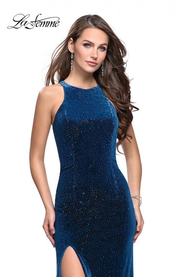 Picture of: Sparkling Velvet Prom Dress with Rhinestone Beading in Dark Teal, Style: 25679, Main Picture