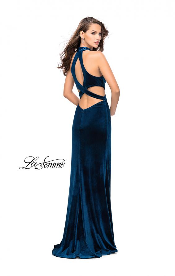 Picture of: Long Velvet Prom Dress with High Neckline and Cut Outs in Dark Teal, Style: 25294, Back Picture