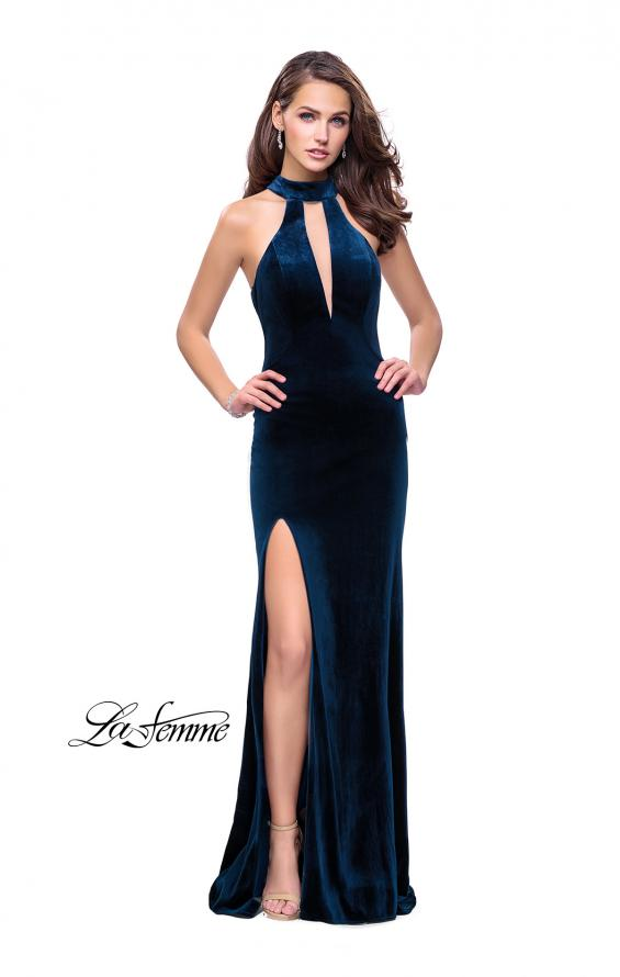 Picture of: Velvet Prom Dress with Open Back and Deep V Cut Out in Dark Teal, Style: 25292, Detail Picture 1