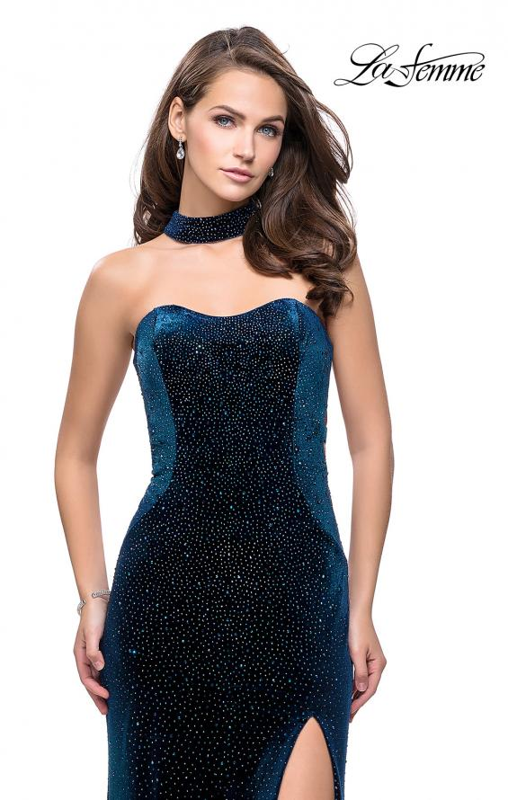 Picture of: Long Strapless Velvet Prom Gown with Cascading Beads in Dark Teal, Style: 26239, Detail Picture 1