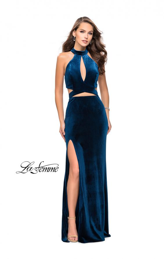 Picture of: Long Velvet Prom Dress with High Neckline and Cut Outs in Dark Teal, Style: 25294, Detail Picture 2