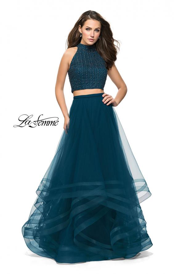 Picture of: Two Piece Prom Gown with Ruffle Tulle Skirt and Beading, Style: 26077, Detail Picture 2