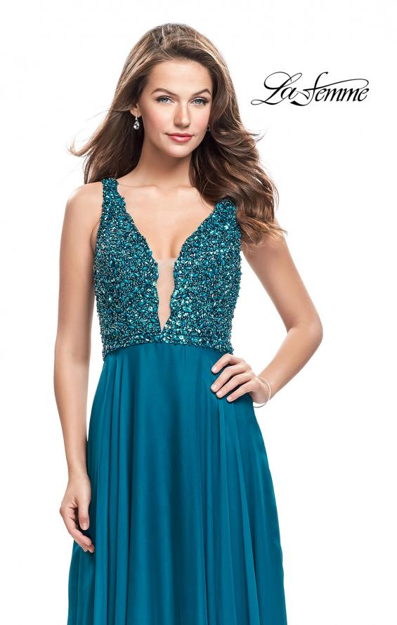 Picture of: A-Line Prom Gown with Chiffon Skirt and Beaded Bodice in Dark Teal, Style: 26053, Detail Picture 2