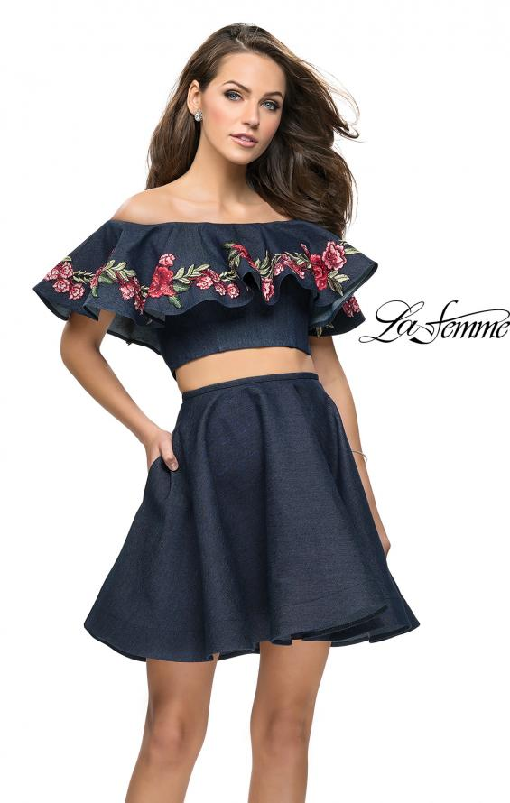 Picture of: Denim Two Piece Dress with Floral Detail and Pockets in Dark Wash, Style: 26627, Main Picture