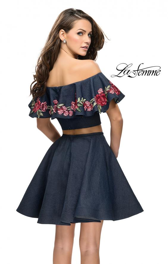 Picture of: Denim Two Piece Dress with Floral Detail and Pockets in Dark Wash, Style: 26627, Back Picture