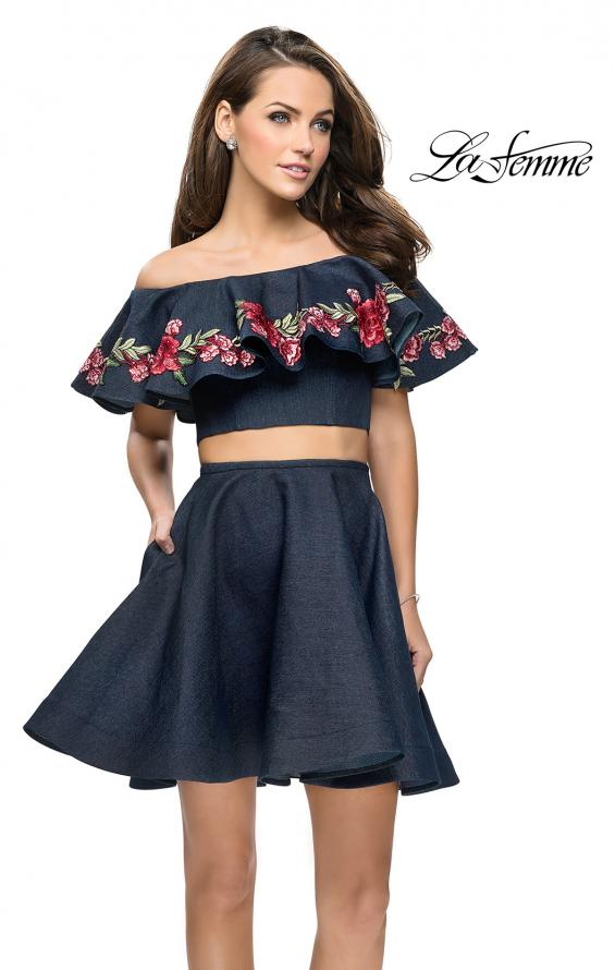 Picture of: Denim Two Piece Dress with Floral Detail and Pockets in Dark Wash, Style: 26627, Detail Picture 1