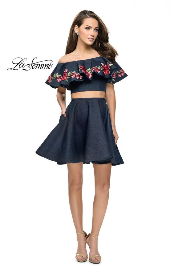 Picture of: Denim Two Piece Dress with Floral Detail and Pockets in Dark Wash, Style: 26627, Detail Picture 2