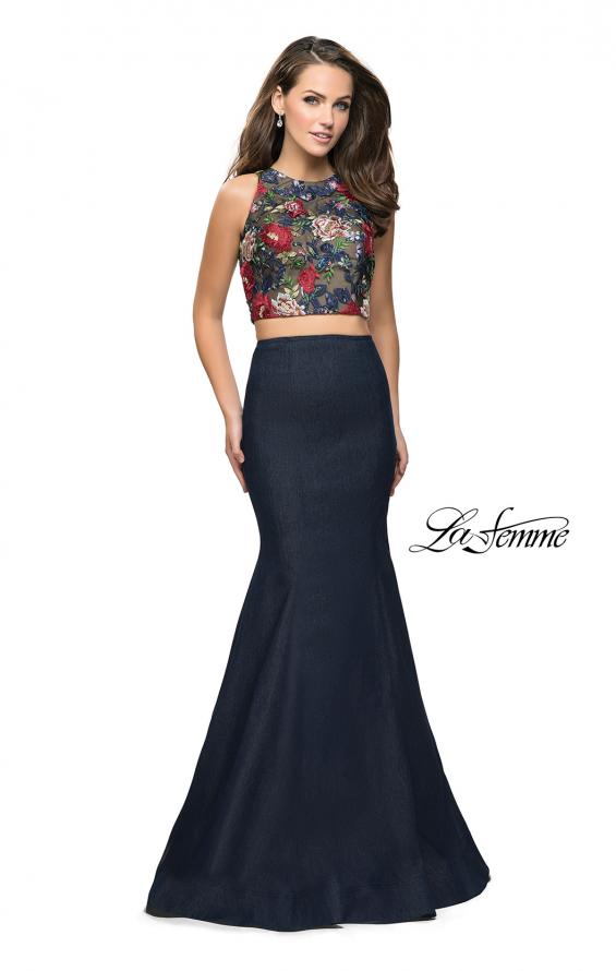Picture of: Two Piece Mermaid Prom Dress with Denim Skirt in Dark Wash, Style: 25614, Main Picture