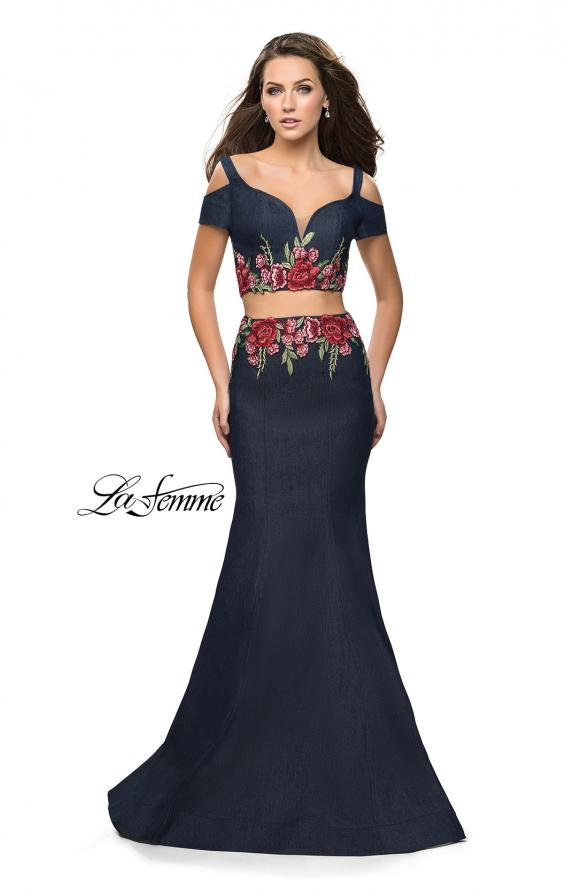 Picture of: Denim Two Piece Prom Dress with Floral Applique in Dark Wash, Style: 25848, Main Picture