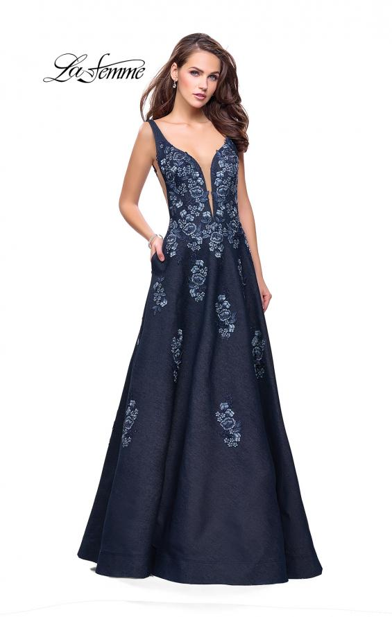 Picture of: Denim A-line Ball Gown with Floral Embellishments in Dark Wash, Style: 26265, Main Picture