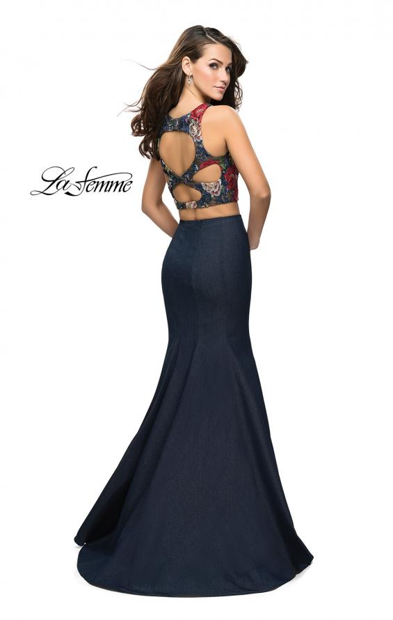Picture of: Two Piece Mermaid Prom Dress with Denim Skirt in Dark Wash, Style: 25614, Back Picture