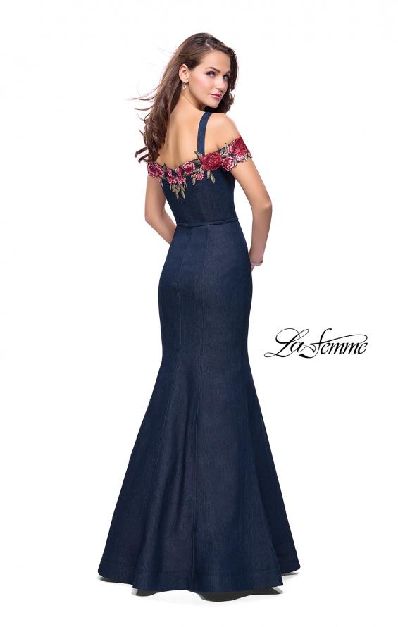 Picture of: Denim Off the Shoulder Dress with Floral Applique in Dark Wash, Style: 25753, Back Picture