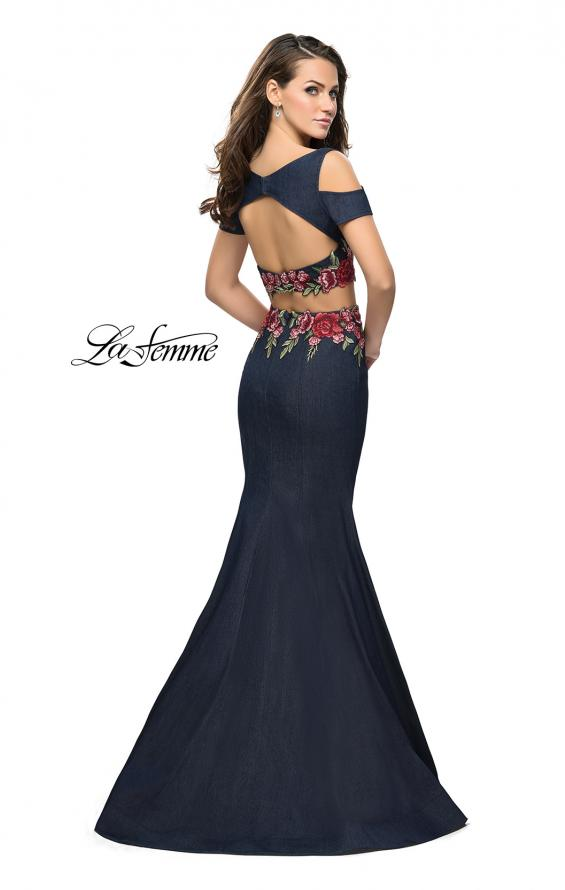 Picture of: Denim Two Piece Prom Dress with Floral Applique in Dark Wash, Style: 25848, Back Picture
