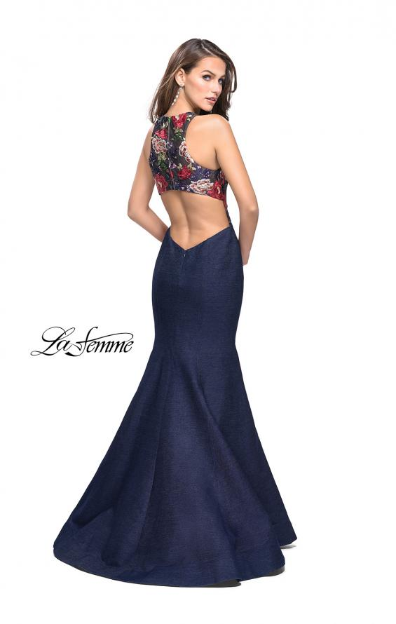 Picture of: High Neck Denim Mermaid Gown with Floral Print in Dark Wash, Style: 25885, Back Picture