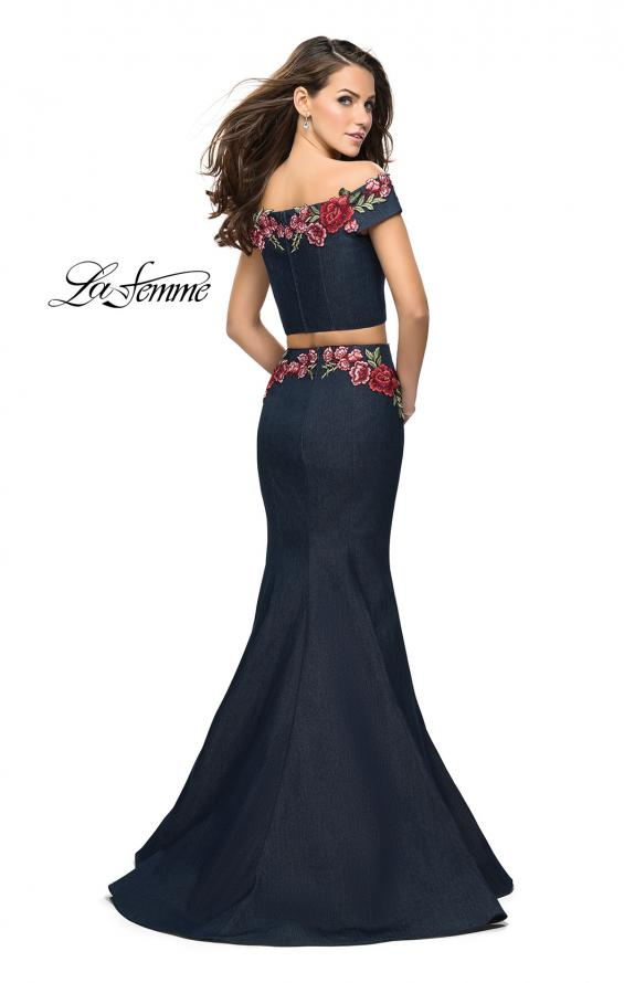 Picture of: Denim Off the Shoulder Floral Two Piece Prom Dress, Style: 25924, Back Picture