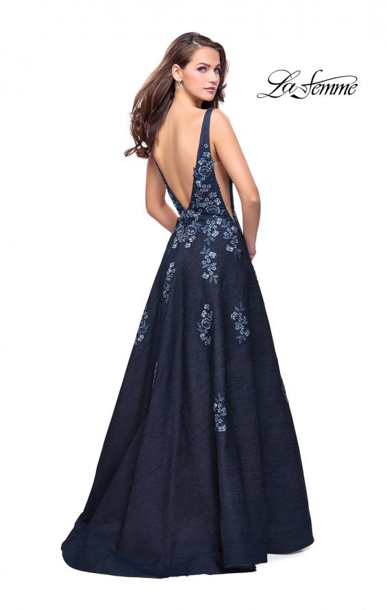 Picture of: Denim A-line Ball Gown with Floral Embellishments in Dark Wash, Style: 26265, Back Picture