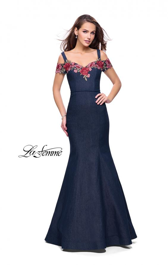 Picture of: Denim Off the Shoulder Dress with Floral Applique in Dark Wash, Style: 25753, Detail Picture 1
