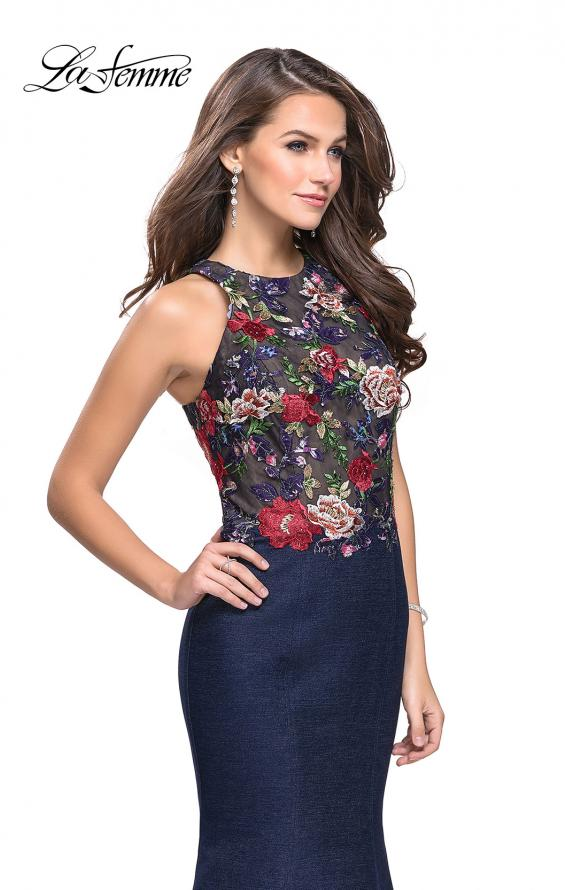 Picture of: High Neck Denim Mermaid Gown with Floral Print in Dark Wash, Style: 25885, Detail Picture 1