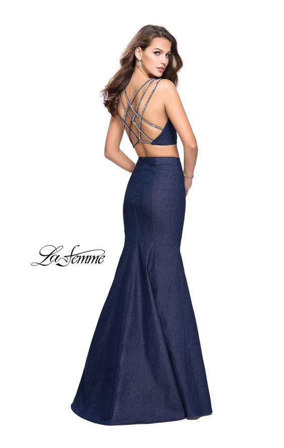 Picture of: Two Piece Denim Prom Dress with Beaded Straps in Dark Wash, Style: 25754, Detail Picture 2