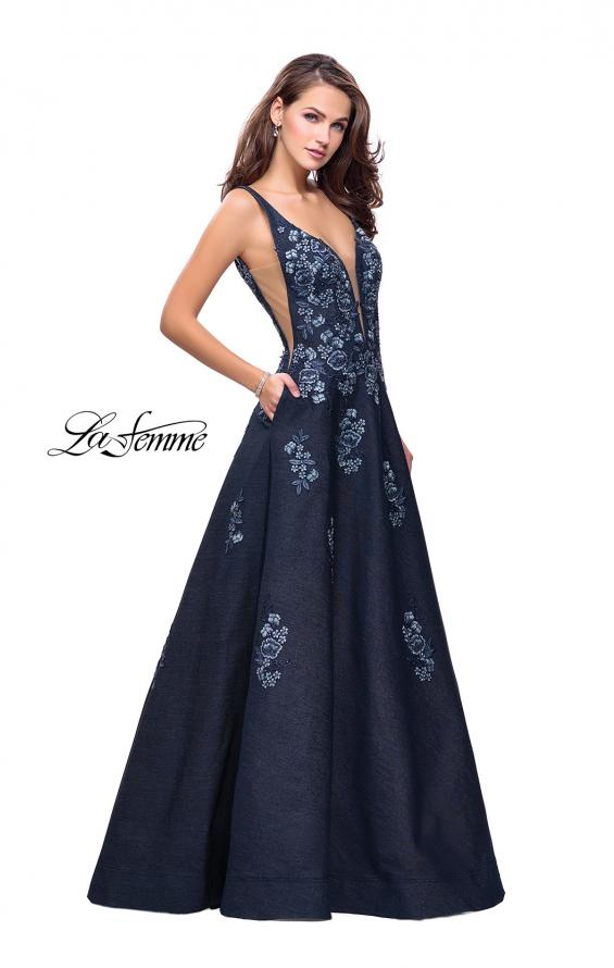 Picture of: Denim A-line Ball Gown with Floral Embellishments in Dark Wash, Style: 26265, Detail Picture 2