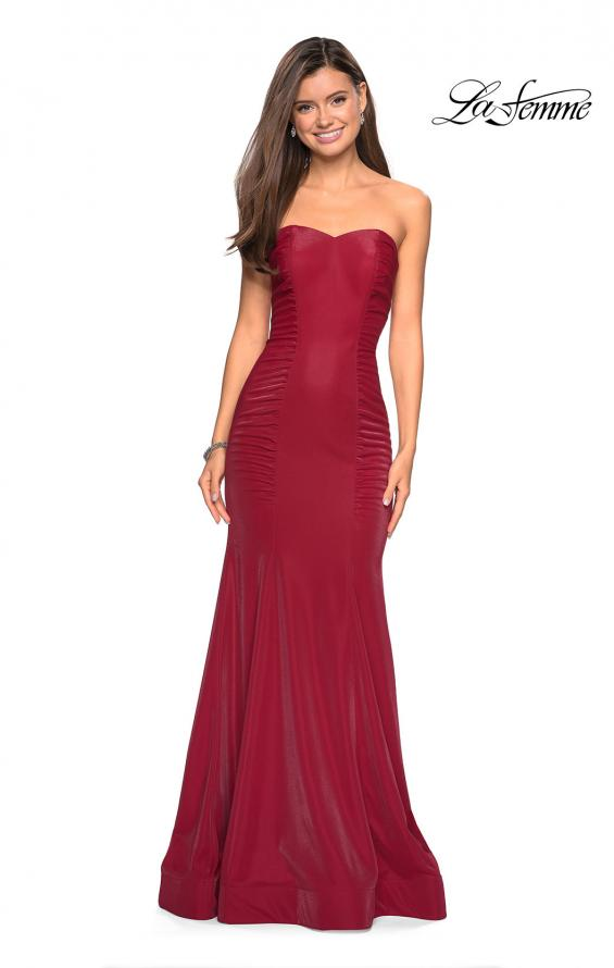 Picture of: Strapless Mermaid Prom Dress with Ruching in Deep Red, Style: 26999, Main Picture