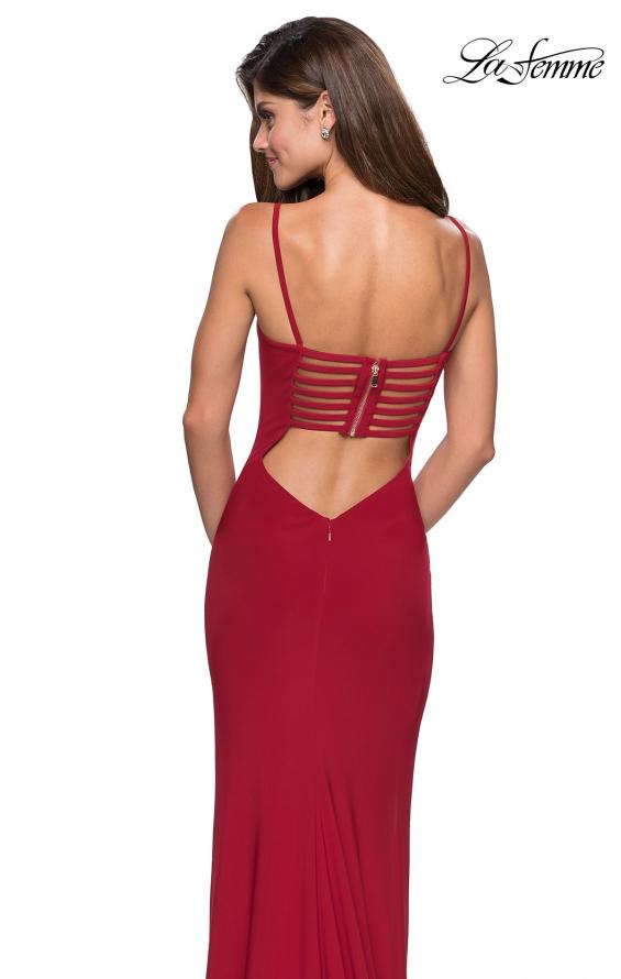 Picture of: Simple Floor Length Jersey Dress with Scoop Neck in Deep Red, Style: 27469, Main Picture