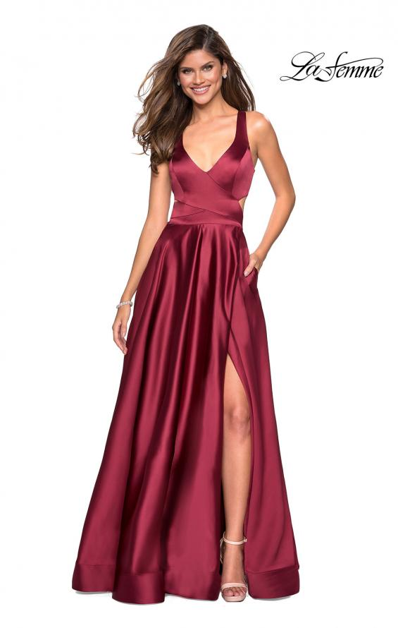 Picture of: Metallic Satin Dress with Wrap Around Top and Pockets, Style: 27487, Main Picture