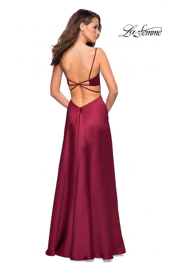 Picture of: Satin Formal Prom Gown with Scoop Neck and Pockets, Style: 26977, Back Picture